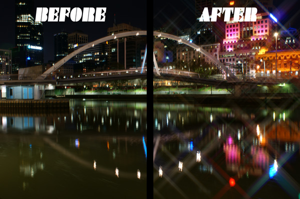 Before and After Star Filter Effect