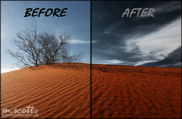 Before/After - Dramatic Skies in GIMP
