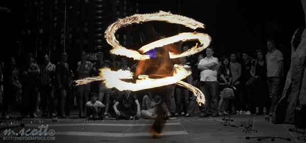 Fire Twirler Black and White