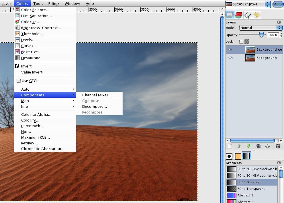 Colors --> Components --> Channel Mixer
