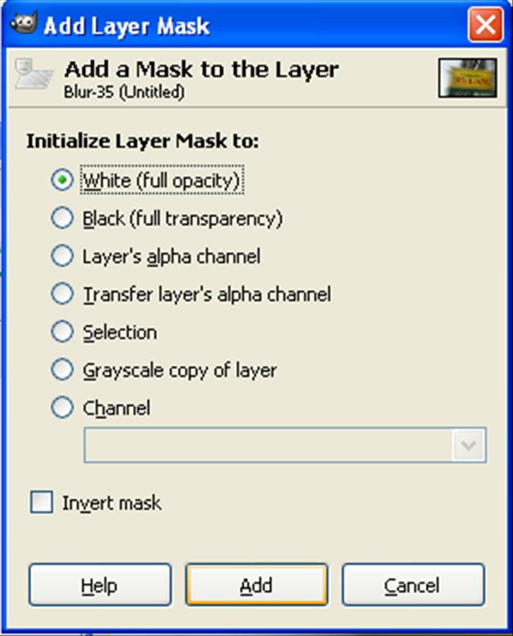 Layer Mask (White (full opacity)